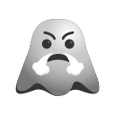 angry, annoyed, emoji, emoticon, frowning, ghost, smiley icon