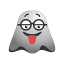 crazy, emoji, emoticon, face, ghost, naughty, smiley, tongue icon