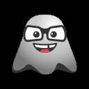 big, emoji, emoticon, face, ghost, grin, laughing, nerd, smiley icon