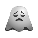 depressed, emoji, emoticon, ghost, sad, smiley icon