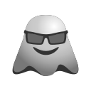 cool, emoji, emoticon, ghost, happy, smiley icon