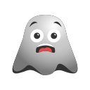 emoji, emoticon, ghost, happy, smiley, surprised icon