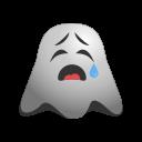 cry, crying, emoji, emoticon, ghost, sad, smiley, weeping icon
