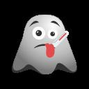 emoji, emoticon, fever, ghost, ill, sick, smiley, thermometer icon