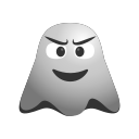 angry, annoyed, emoji, emoticon, ghost, smiley, worried icon