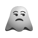 angry, annoyed, emoji, emoticon, ghost, sad, smiley icon