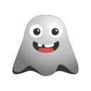 big, emoji, emoticon, ghost, grin, laughing, smiley icon