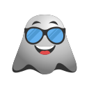 emoji, emoticon, ghost, naughty, smiley, sunglasses icon