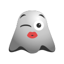 emoji, emoticon, feeling, ghost, kissing, loved, romantic, smiley icon