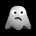 depressed, emoji, emoticon, ghost, sad, smile, smiley, unhappy icon