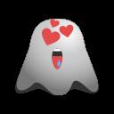 emoji, emoticon, feeling, ghost, happy, love, loved, smile, smiley icon