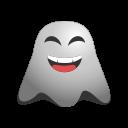 big, emoji, emoticon, ghost, grin, laughing, lol, smiley icon