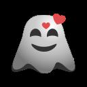 emoji, emoticon, feeling, ghost, happy, loved, smiley icon