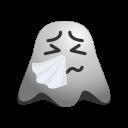 cold, emoji, emoticon, flu, ghost, sick, smiley, sneezing icon