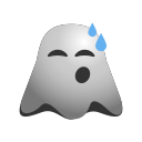 cold, emoji, emoticon, exhausted, ghost, relieved, smiley, sweat icon