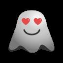 emoji, emoticon, feeling, ghost, happy, in, love, loved, smiley, valentine icon