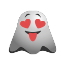 emoji, emoticon, ghost, in, love, smile, smiley, valentine icon