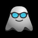 cool, emoji, emoticon, face, ghost, happy, smiley, sunglasses icon