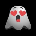 emoji, emoticon, ghost, happy, in, love, smile, smiley, valentine icon