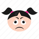 emoji, emoticon, face, girl, sad, unhappy, women icon