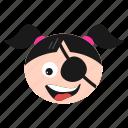 emoji, eye, girl, laughing, patch, pirate, women