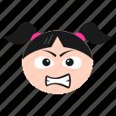 emoji, girl, grimacing, irritated, mouth, open, women