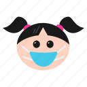 emoji, emoticon, expressions, girl, mask, medical, women