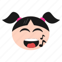 emoji, emoticon, girl, music, note, singing, women