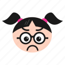 baffled, confused, emoji, emoticon, face, girl, women