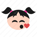 emoji, emoticon, girl, kissing, romantic, smile, women