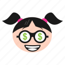 dollar, eyes, face, girl, greedy, happy, money icon