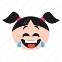 emoji, emoticon, face, girl, laughing, smiley, women icon