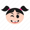 emoji, girl, happiness, smile, smirking, winking, women