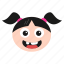 big, emoji, emoticon, girl, grin, laughing, women icon