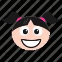 emoji, emoticon, girl, grin, laughing, women