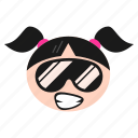 cool, emoji, face, girl, happy, sunglasses, women