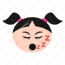 emoji, emoticon, girl, mouth, open, sleeping, women icon