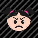 annoyed, emoji, emoticon, face, girl, pouting, women icon