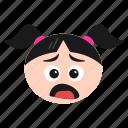 depressed, doh, emoji, face, frowning, girl, women