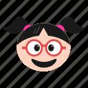 emoji, emoticon, face, girl, glasses, happy, women icon