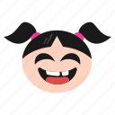 emoji, face, girl, grinning, happy, joyful, women