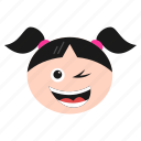 emoji, girl, happiness, happy, smirking, winking, women icon