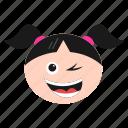 emoji, girl, happiness, happy, smirking, winking, women icon