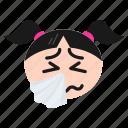 cold, flu, girl, sick, smiley, sneezing, women