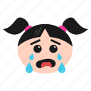 cry, crying, emoji, girl, sad, weeping, women