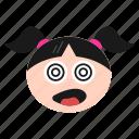 confused, dizzy, emoji, emoticon, girl, silly, women