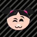 emoji, emoticon, face, girl, kitten, smile, women icon