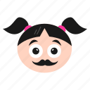 character, emoji, emoticon, girl, hipster, mustache, women icon