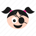 eye, girl, laughing, patch, pirate, smiley, women icon