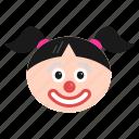 clown, emoji, emoticon, girl, jester, joker, women